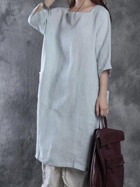 3/4 Sleeve Casual Linen Dress