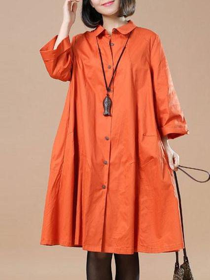 Red A-line Casual Plain Linen Dress