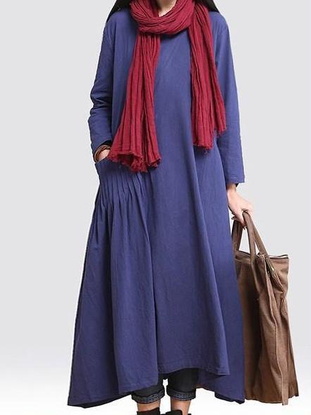 Blue A-line Long Sleeve Linen Linen Dress