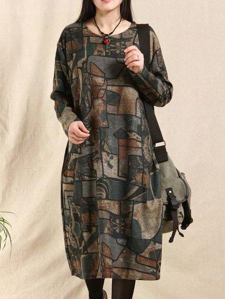 Shift Long Sleeve Casual Printed Crew Neck Linen Dress