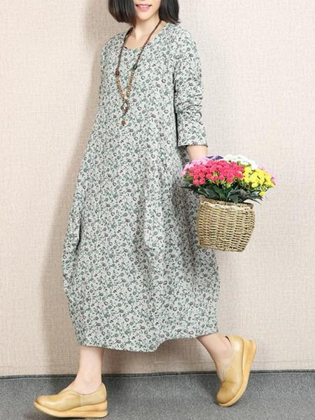 Light Green Long Sleeve Shift Cotton Linen Dress