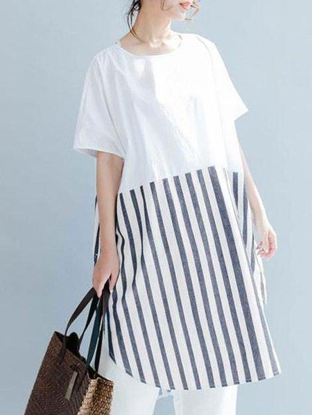 White Paneled Casual Linen Dress