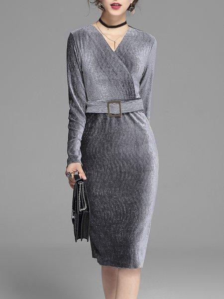 Black Velvet Long Sleeve V Neck Solid Wrap Dress