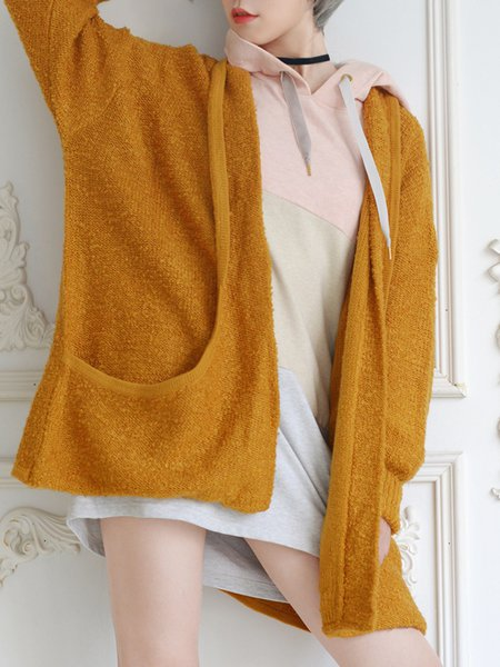 Pockets Long Sleeve Solid H-line Knitted Cardigan