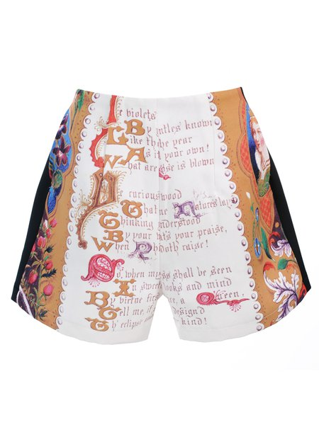 Multicolor Simple  A-line Printed Shorts