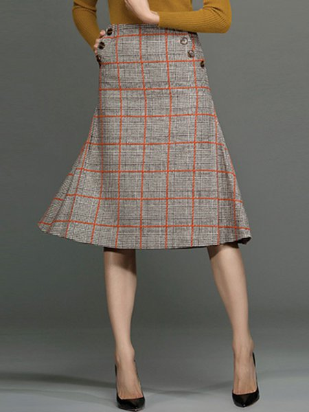 Gray Vintage Wool Blend Plaid A-line Midi Skirt