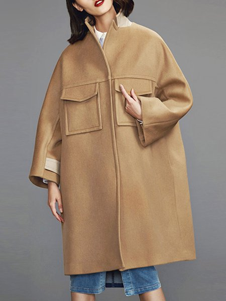 Camel Simple Pockets Stand Collar Plain Coat