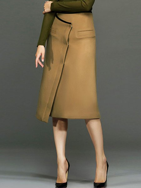 Camel Simple Asymmetric Midi Skirt