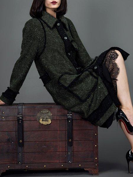 Dark Green Appliqued Pockets Long Sleeve Coat