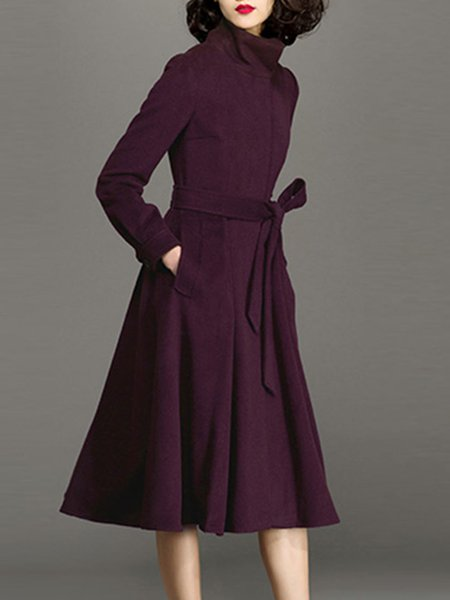 Long Sleeve Plain Simple Turtleneck Wool Blend Midi Dress