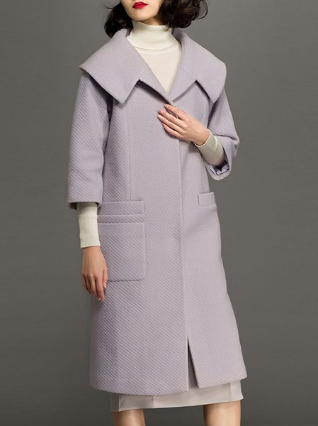 Lavender Simple Lapel Wool Blend Pockets Coat