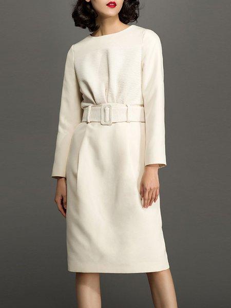 Beige Plain Long Sleeve Crew Neck Midi Dress