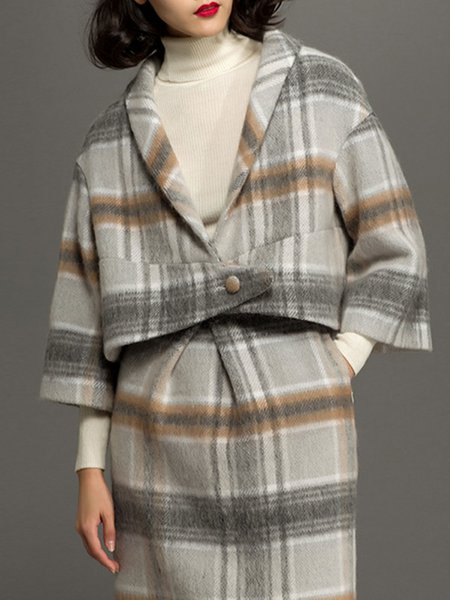 Long Sleeve Vintage Checkered/Plaid Wool-blend Coat
