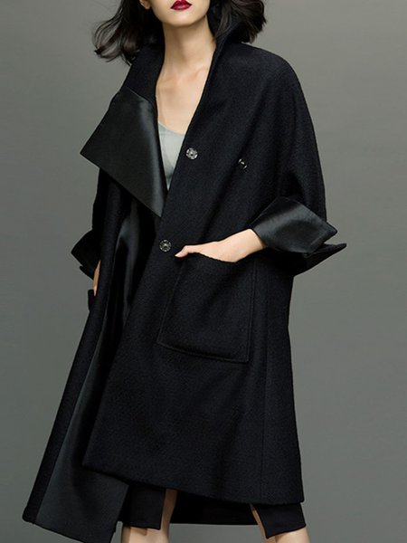 Black H-line Pockets Simple Wool Blend Coat with Scarf