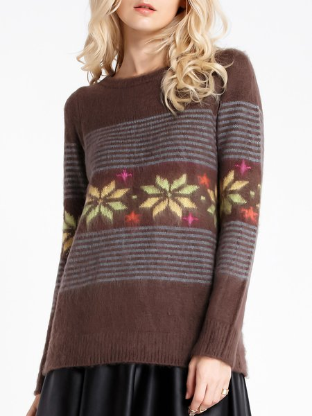 Casual H-line Jacquard Long Sleeve Sweater
