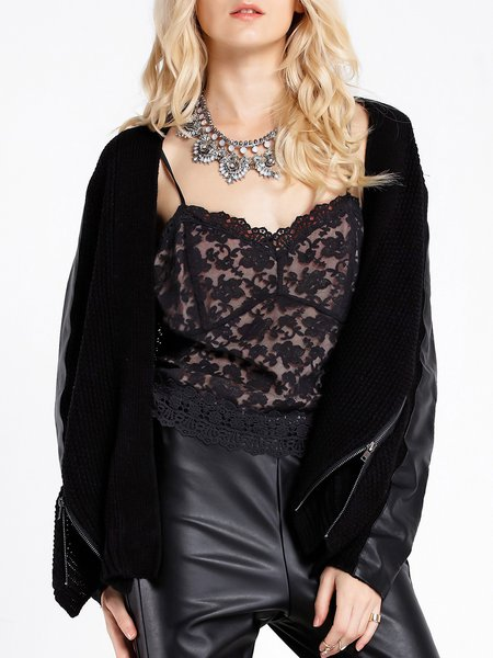 Black Acrylic Long Sleeve Zipper Cardigan