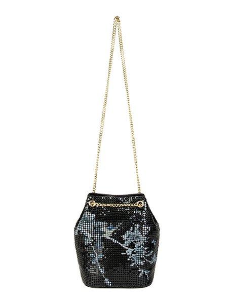 Black Printed Metal Mesh Retro Snap Bucket Crossbody Bag