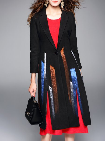 Long Sleeve Simple Lapel Printed Slit Coat