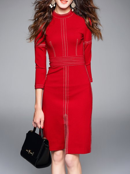 Red Cotton-blend 3/4 Sleeve Plain Crew Neck Midi Dress