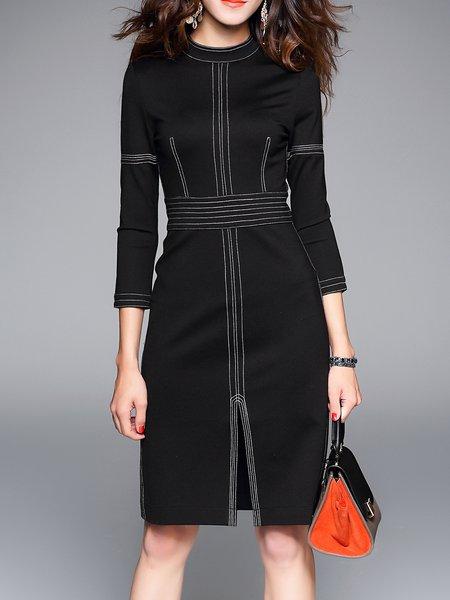 Black Cotton-blend Simple Slit Midi Dress