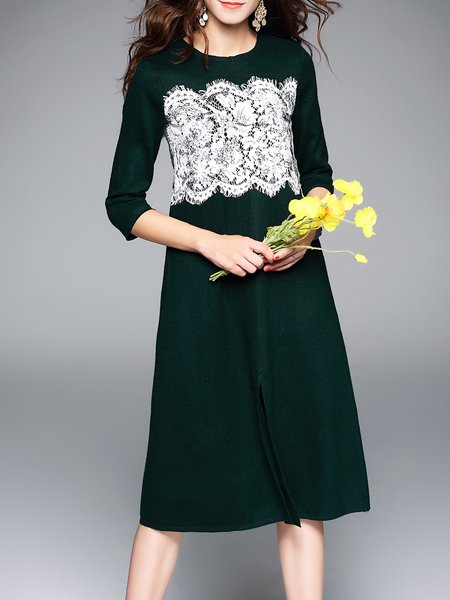 Slit Crew Neck Simple A-line Lace Paneled Midi Dress