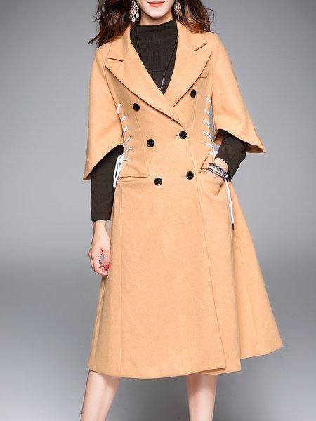 Khaki 3/4 Sleeve Plain Lace-up Double Breasted Simple Coat