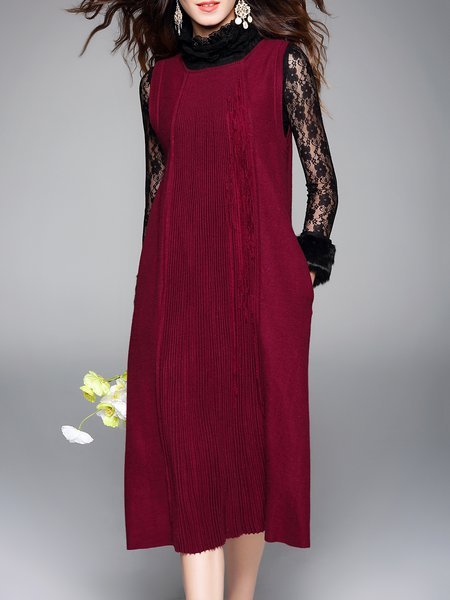 Wool Blend Plain Casual Sleeveless Ribbed Midi Dress