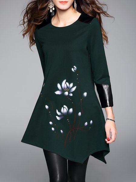 Green Floral Print Asymmetric Long Sleeve Tunic