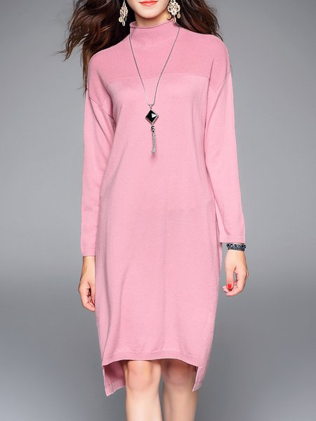 Casual Shift Long Sleeve Knitted Plain Sweater Dress