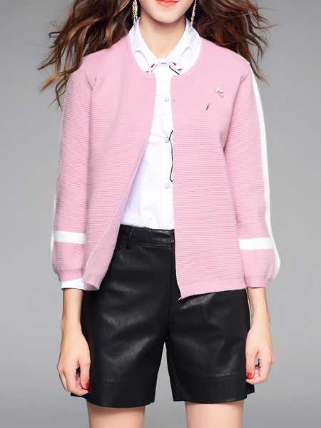 Pink H-line Long Sleeve Ribbed Cardigan