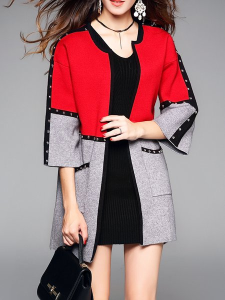 Simple Long Sleeve Color Block Crew Neck Coat