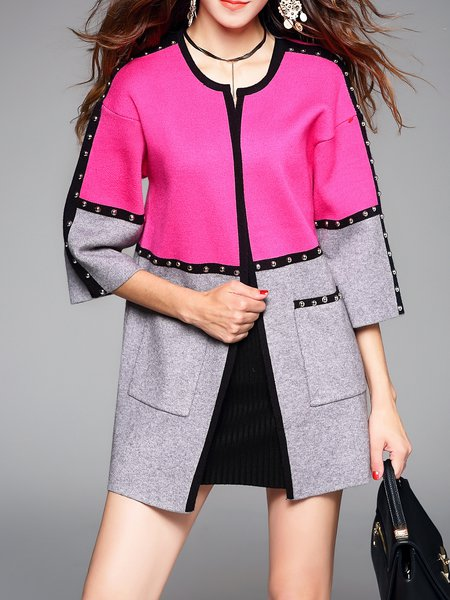 Fuchsia H-line Crew Neck Color-block Long Sleeve Coat