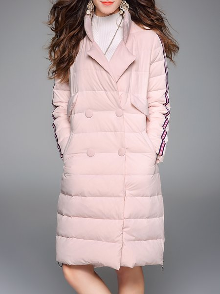 Pink H-line Plain Pockets Casual Down Coat