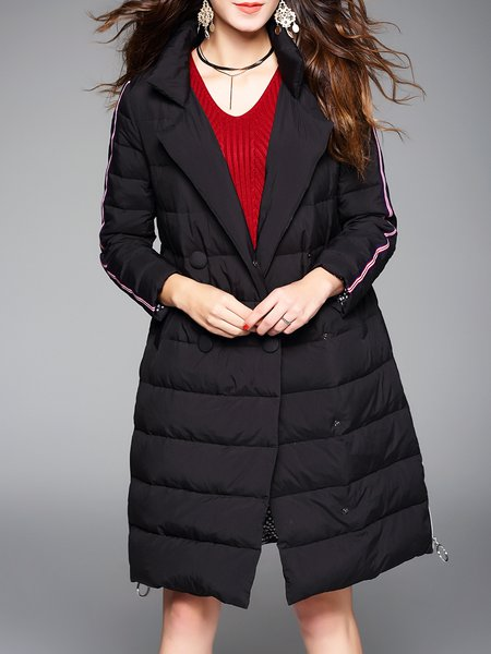 Casual H-line Pockets Long Sleeve Down Coat