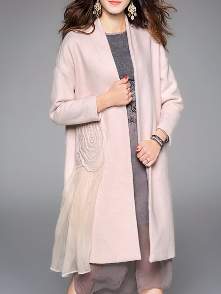 Apricot Appliqued Open Front Wool-blend Simple Coat