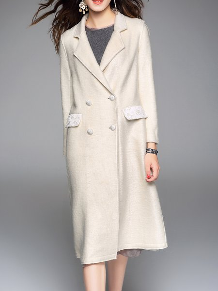 Simple Long Sleeve Double Breasted Plain Coat