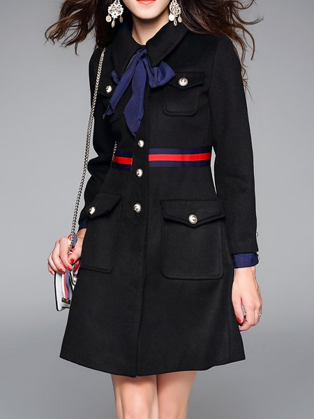 Black Front Pockets Long Sleeve Bow Shirt Collar Coat