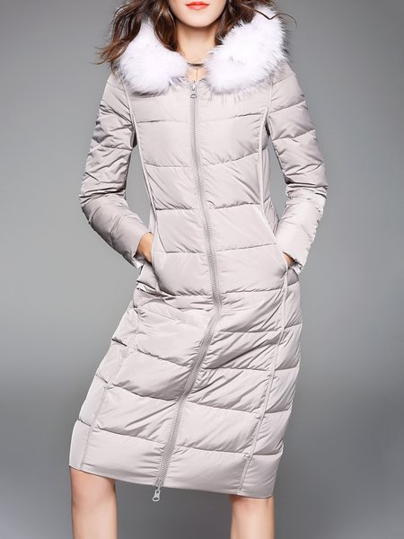 White Hoodie H-line Long Sleeve Faux Fur Down Parka