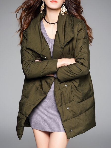 Army Green Lapel Plain Casual Pockets Down Coat