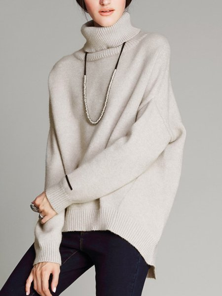Batwing Simple High Low Turtleneck Sweater - StyleWe.com