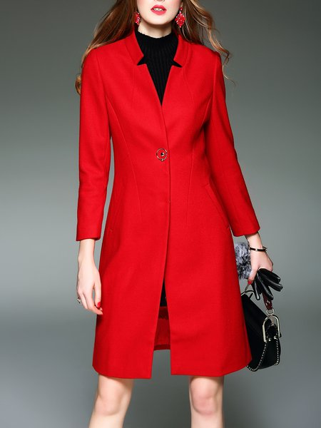 Wool Blend Red Long Sleeve Solid Coat With Pockets
