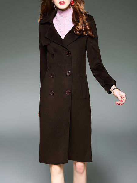 Brown Casual Wool Coat with Pockets