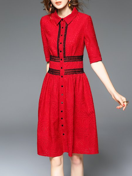 Red Shirt Collar Crocheted Elegant Midi Dress