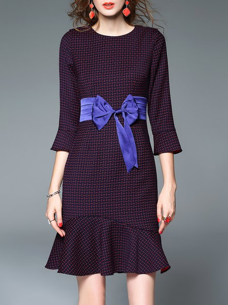 Purple Bow Sheath Ruffled Elegant Midi Dress