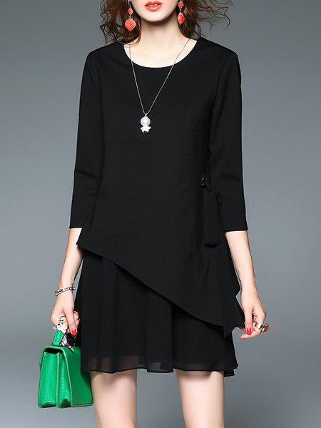 Black Crew Neck 3/4 Sleeve Mini Dress