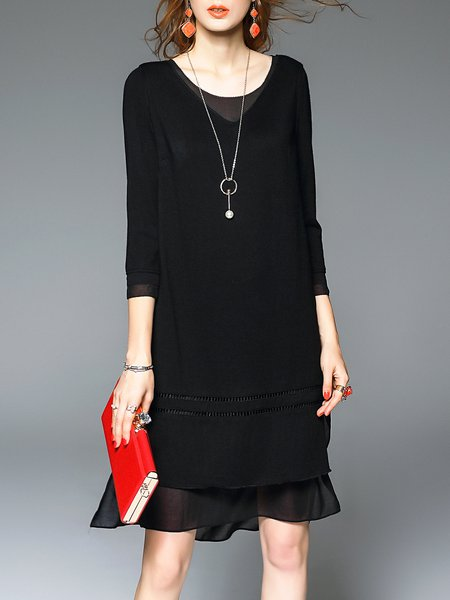 Black Asymmetric 3/4 Sleeve Two Piece Midi Dress