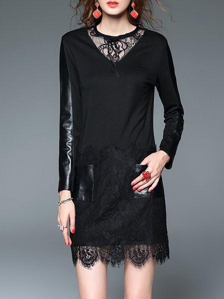 Black Casual Sheath Crew Neck Midi Dress