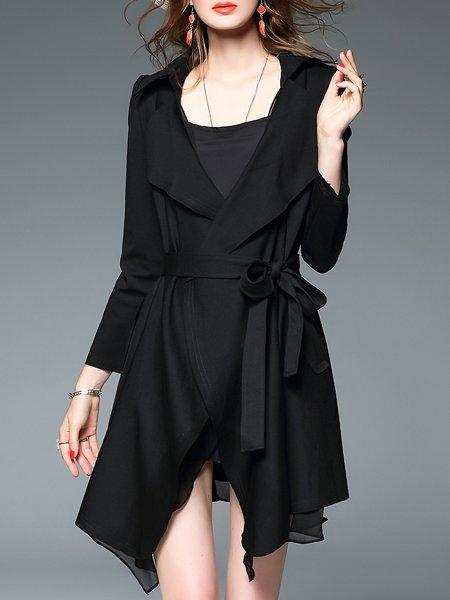 Black Long Sleeve Asymmetrical Lapel Coat