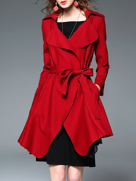 Red Long Sleeve Asymmetric Pockets Coat