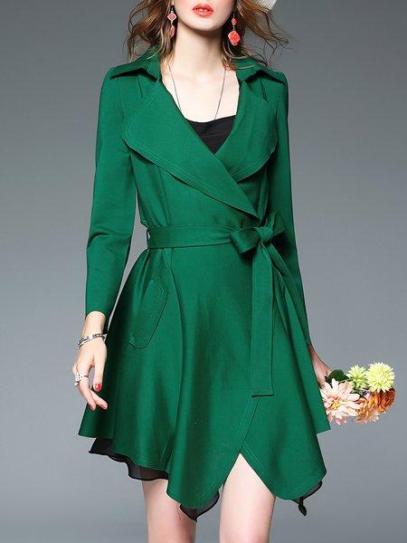 Green Work Long Sleeve Asymmetrical Coat